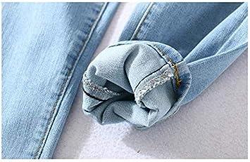 QMGLBG L Größe/Elastische Jeans mit hoher Taille Die Neue eng anliegende, schlanke, modisch Gewaschene Bleistifthose für Damska mit Neun-Punkt-Hose: Küche & Haushalt
