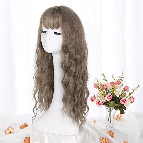 Wigs Long Curly Heat Resistant Synthetic Cosplay Women Wig Glamour Hairpiece For Party/Fancy Dress/Halloween/Daily With Full Fringe +free Wig Cap (Color : ()