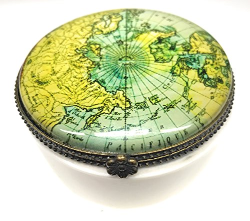 Value Arts Antique World Map Trinket Box, Ceramic and Glass, 2.5 Inches Diameter