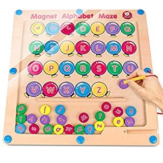 Gamenote Magnetic Alphabet Maze Board, Uppercase Lowercase Letters Matching Montessori Toys for Toddlers - Fine Motor Skills Toys ABC Alphabet Recognition Color Sorting Puzzle
