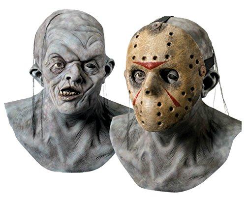 [Jason Voorhees Hockey Scary Horror Latex Adult Halloween Costume Mask] (Latex Alien Mask)