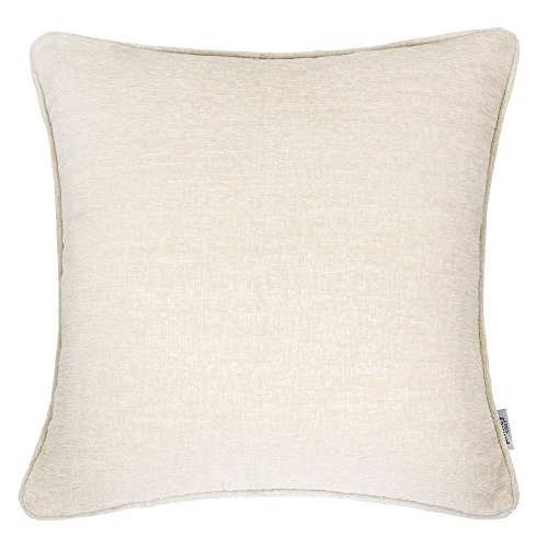 Homey Cozy Chenille Textured Throw Pillow Cover,Chenille Solid Series Ecru Beige Large Sofa Couch Decorative Pillow Case Western Home Decor 20x20, Cover Only ()