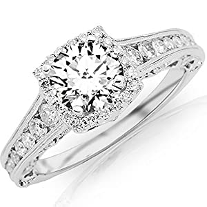 1.65 Carat GIA Certified 14K White Gold Vintage Halo Round Cut Diamond Engagement Ring Milgrain (0.9 Ct D Color VS1 Clarity Center)