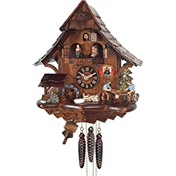Quartz Cuckoo Clock Black Forest house with moving sawyer couple and mill wheel, with music