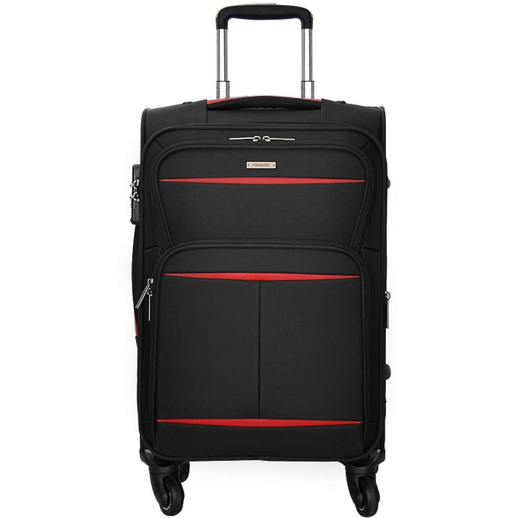 トロリーケース- 男性および女性の大容量の黒い普遍的な車輪のトロリー箱、ビジネスパスワード箱20/22/24/28インチ (Color : Black, Size : 24in) B07VPCQK76 Black 24in