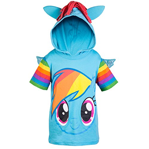My Little Pony Hooded Shirt - Rainbow Dash, Twilight Sparkle, Pinky Pie - Girls (Rainbow Dash, Small-4)