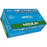 Mediflex Blue Niclean Examination Grade (TTC Free - Low Allergy) Powder Free Nitrile Gloves (200/Box) - 245mm Cuff Length, Micro Textured Fingertips, Accelerator Free, Latex Free, Non Sterile (M)