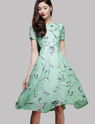 PU&PU Robe Aux femmes Gaine Vintage,Imprimé Col Arrondi Midi Polyester , light green-m , light green-m
