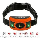 PETOWN [NEW 2018 VERSION FLASHING LIGHTS] Bark Collar with UPGRADED Smart Chip - Best Intelligent Dog Shock, Beep Anti-Barking Collar. No Bark Control for Medium/Large Dogs (orange)
