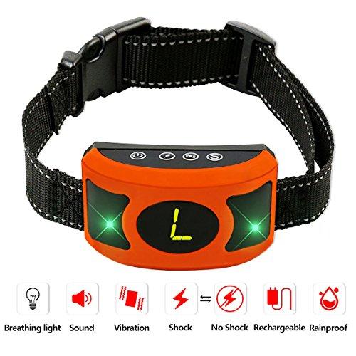 PETOWN [NEW 2018 VERSION FLASHING LIGHTS] Bark Collar with UPGRADED Smart Chip - Best Intelligent Dog Shock, Beep Anti-Barking Collar. No Bark Control for Medium/Large Dogs (orange) by PETOWN