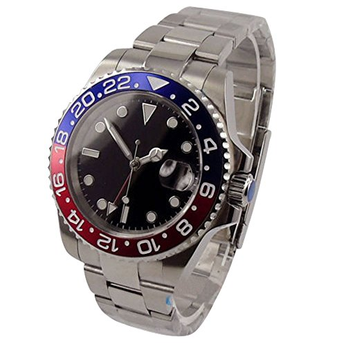 Whatswatch 40mm parnis black dial GMT red blue Bezel date window automatic mens watch PA-01179 (Watch Gmt Date)