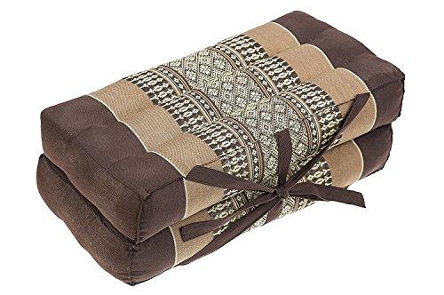 "Mongkol Brand Thai Foldable Pillow, Seat/Chairpad and Meditation Cushion 100% Cotton & Natural Kapok Stuffing,Brown-Beige, 16"" by Mongkol Brand"