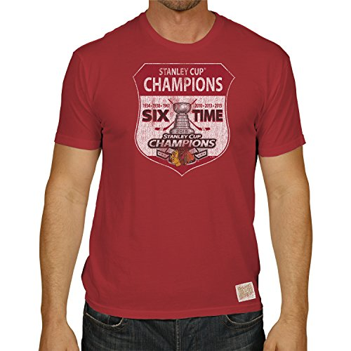Chicago Blackhawks Retro Brand 2015 Stanley Cup Champs 6 Time Sign T-Shirt (L)