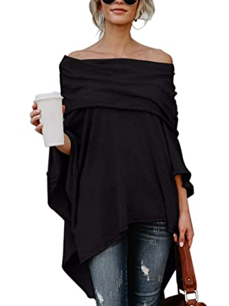 389fd55d1b4100 Women Sexy Ruffle Off Shoulder Casual Irregular Hem Clubwear Cashmere Coat  Cardigan Black Small