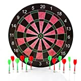 Harbre Magnetic Dart Board 16 Inch Size with 12 Darts 6 Green Darts and 6 Red Darts