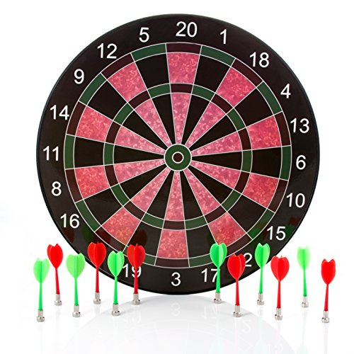 Cheapest Prices! Harbre Magnetic Dart Board 16 Inch Size with 12 Darts 6 Green Darts and 6 Red Darts