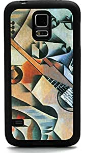 Rikki KnightTM Juan Gris Art Banjo Guitar with Glasses Design Samsung? Galaxy S5 Case Cover (Black Rubber with front Bumper Protection) for Samsung Galaxy S5 i9600