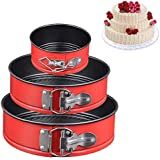 """Springform Pan Set of 3 Non-stick Cheesecake Pan (4""""/7""""/9""""),Leakproof Baking Pans for Instant Pot 6,8 Quart with Quick Release Latch Removable Bottom (Red)"""