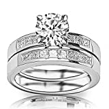 2.85 Ctw 14K White Gold Classic Channel Set Princess Cut Engagement Ring and Wedding Band Set w/ Round 2 Carat Forever One Moissanite Center