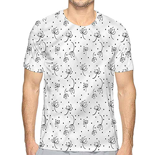 t Shirt for Men Black and White,Abstract Dandelions Custom t Shirt XXL