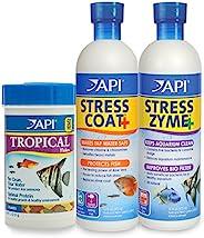 API Aquarium Water Conditioner & Tropical Food Bundle Pack: One (1) Stress Coat 16 oz, one (1) Stress Zyme