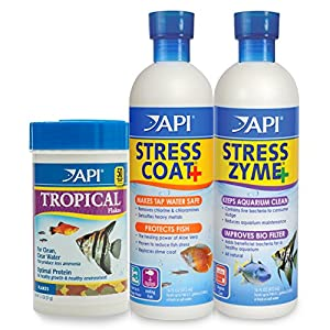 API Aquarium Water Conditioner & Tropical Food Bundle Pack: One (1) Stress Coat 16 oz, one (1) Stress Zyme 16 oz, one (1…