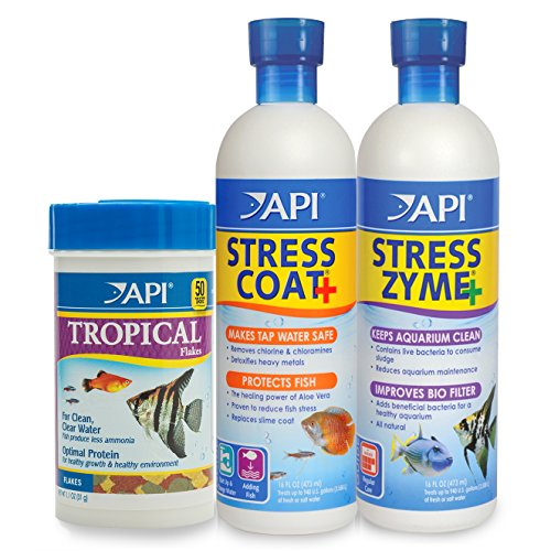 API Aquarium Water Conditioner & Tropical Food Bundle Pack: One (1) Stress Coat 16 oz, one (1) Stress Zyme 16 oz, one (1) Tropical Flakes Fish Food 1.1 oz.