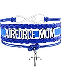 AIR FORCE MOM United States Military Love Charm Bracelet Gift Infiniti Jewelry