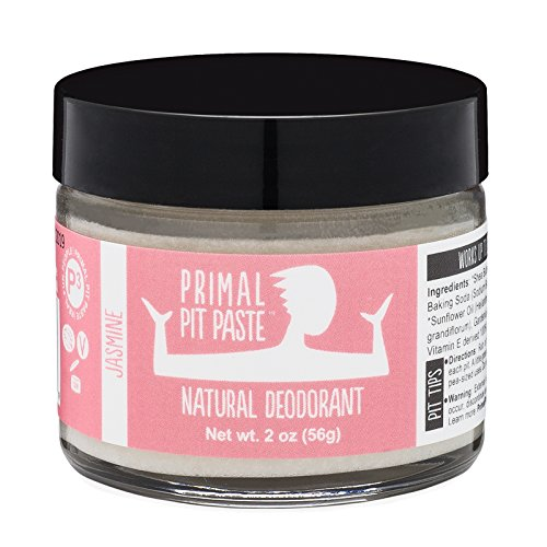 PRIMAL PIT PASTE All Natural Jasmine Deodorant | 2 Ounce Jar | NO Aluminum, NO Parabens | For Women and Men of All Ages | Non-GMO, Cruelty Free, Earth Friendly, BPA Free (Dry Jasmine Oil)