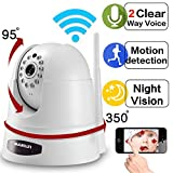 Wantsee 720p HD Night Vision Wireless Wifi Surveillance Security Camera Plug&Play Pan/Tilt Two-way Audio Home Monitor WS-001w