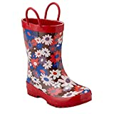 Pluie Pluie Girls Brown Red Flower Rain Boots 8 Toddler