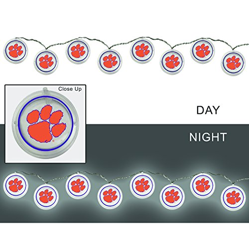 Team Sports America Clemson University Outdoor Safe Battery Powered String Light Set