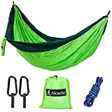 Image of Nicecho Double Camping Parachute Hammock, Lightweight Nylon Portable Hammock, Best Garden Double Hammock For Backpacking, Travel, Camping, Beach, Yard or Any Adventure (Green and Dark Green)