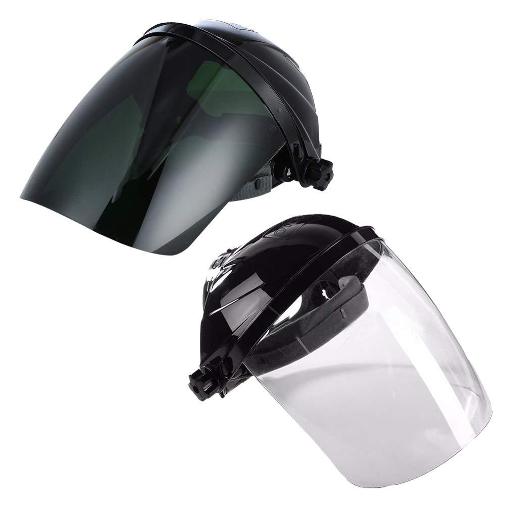 Venseri Pack of 2 Full Face Grinding Shield, Flip Front Shade 5 UV/IR Face Shield, Anti-Fog Window with Ratchet Headgear, Plasma Cutting/Grinding by Venseri (Image #1)