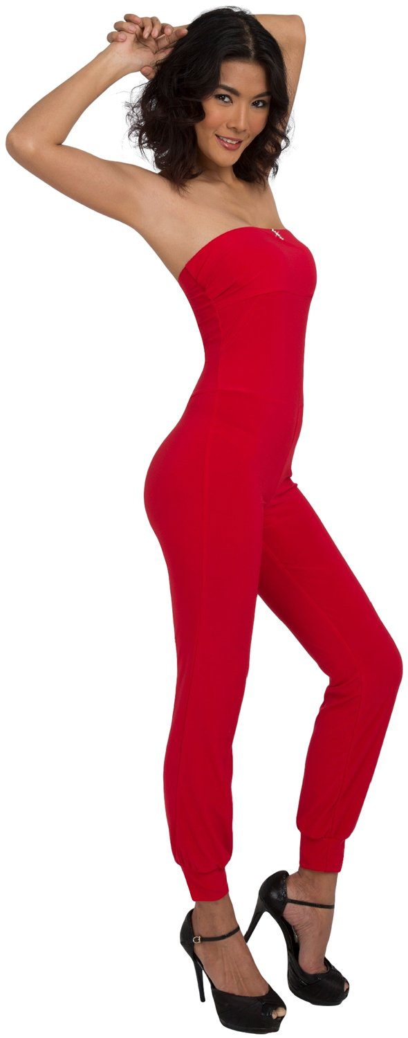 CWG Women's Rhinestone Catsuit/Jumpsuit (Large, Red)