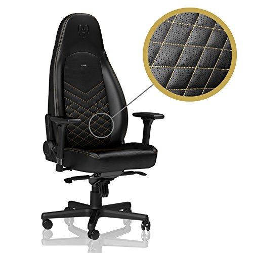 Gold Icon - noblechairs ICON Gaming Chair • Office Chair • Ergonomic • Adjustable in 4 Dimensions • Reclinable to 135° • PU Leather • Up to 330 lbs Users • Arm Rests • Racing Seat Design • Black/Gold