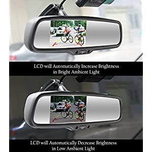 """Master Tailgaters OEM Rear View Mirror with 4.3"""" Auto Adjusting Brightness LCD - Rearview Universal Fit"""