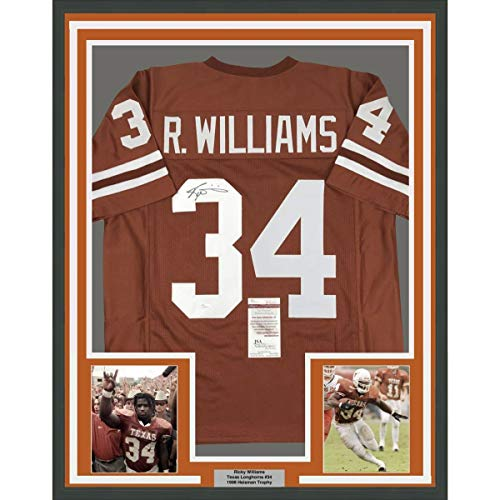 Framed Autographed/Signed Ricky Williams 33x42 Texas Orange College Football Jersey JSA -