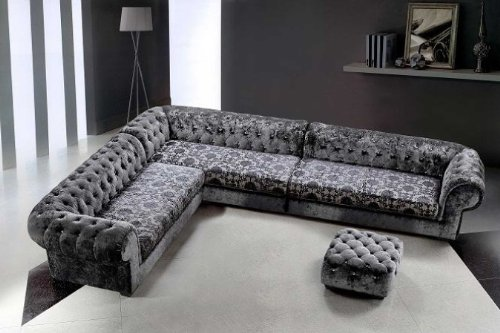 Metropolitan Grey Microfiber Sectional Sofa & Ottoman