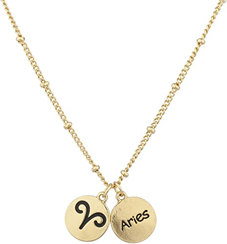 Gold Star Sign Necklace Zodiac Horoscope Chain Pendant Charm