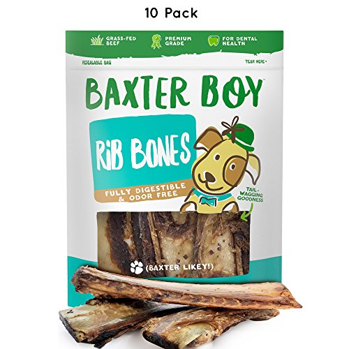 """Baxter Boy Premium Roasted Beef Ribs Dog Bone Treats Chews (10 Pack) – 7"""" Long All Natural Gourmet Dog Treat Chews – Delicious Smoked Beef Flavor"""