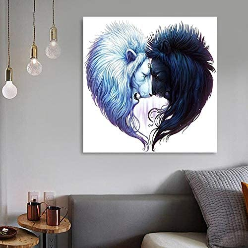 Topdo 1PC DIY 5D Black and White Lions Fight Diamond Painting by Number Kit for Adult Full Drill Diamond Kit Home Wall Decor size 30 30cm