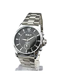 COKOO Clock Silver Fashion Men watch full Stainless Steel Quartz watches Wrist Watch Wholesale Silver watch men