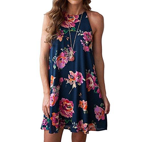 L'ananas 2018 Women Summer Dress Casual Sleeveless Halter Neck Boho Floral Print Chiffon Camisole Mini Short Dresses (CN-XL/US-10, Dark (Mini Me Costume Pattern)