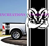 Dodge Hemi Ram Power 1500 Mopar Rear Bed Stripes Truck Decals Stickers 2 Racing (White)
