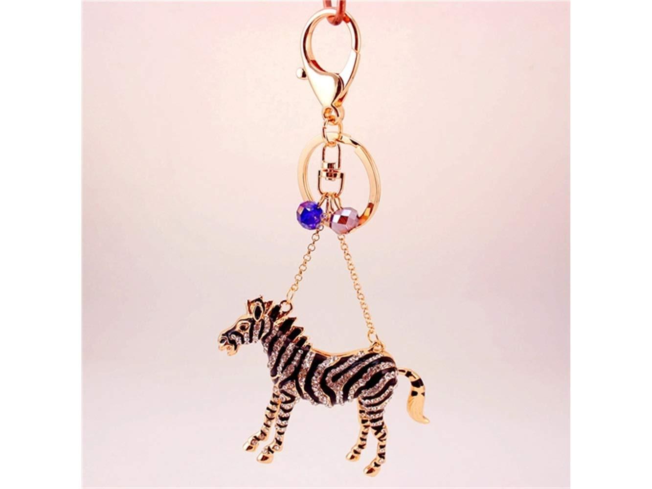 Car Keychain, Cute Exquisite Zebra Keychain Animal Key Trinket Car Bag Key Holder Decorations(Black) for Gift by Huasen (Image #2)