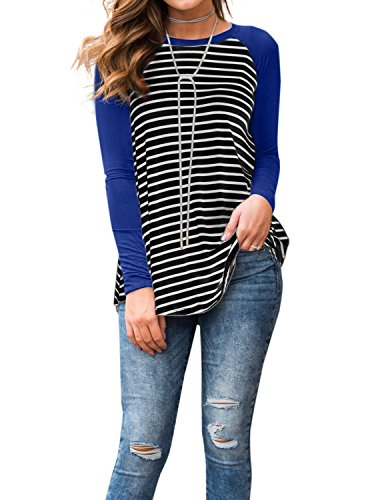 Adreamly Women's Black and White Striped Long Sleeve Baseball T Shirt Blouse Tunic Tops Royal Blue -