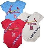 OuterStuff St. Louis Cardinals 3pc Creeper Set Infant Baby Stitch