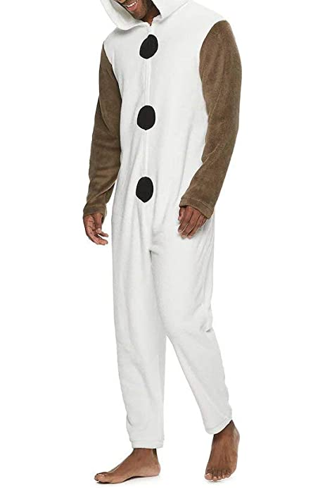 Olaf Frozen Adult Snowman Costume Kigurumi Pajamas Cosplay bodysuit Pyjamas