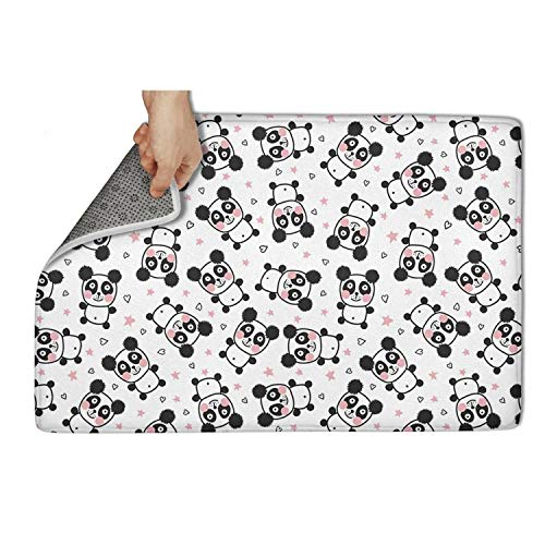 WOFDJRF Love Panda Bear Door Mat for Outdoor Entry Funny Carpets 23.5